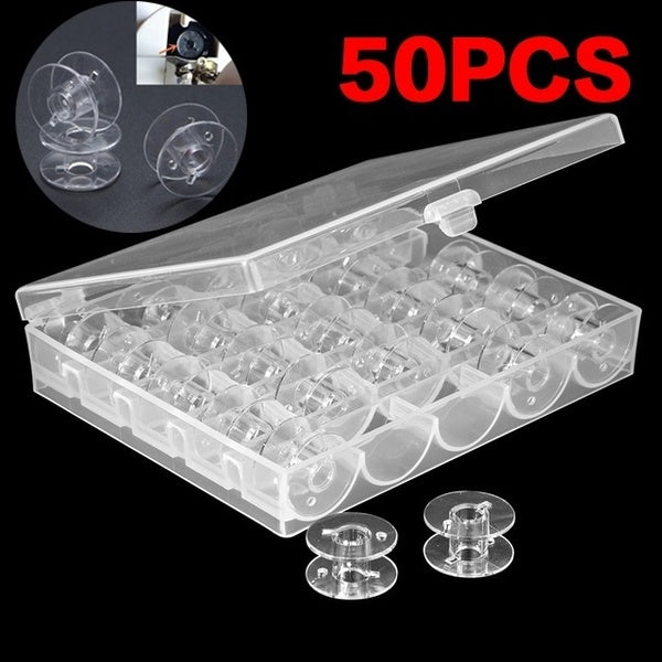 1set Clear Plastic 10/25/50PCS Bobbins Sewing Machine Spools with Thread Storage Case Box for Home Sewing Accessories Sewing Tools