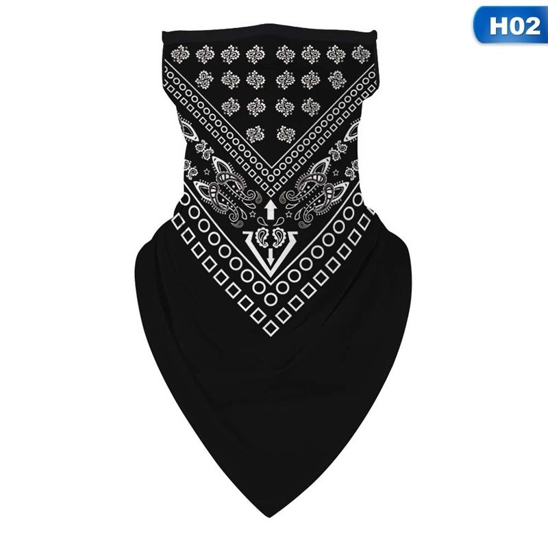 Digital Printing Hanging Ear Masked Triangle Scarf Cycling Face Cover Multifunctional Sunscreen Outdoor Riding Face Scarf