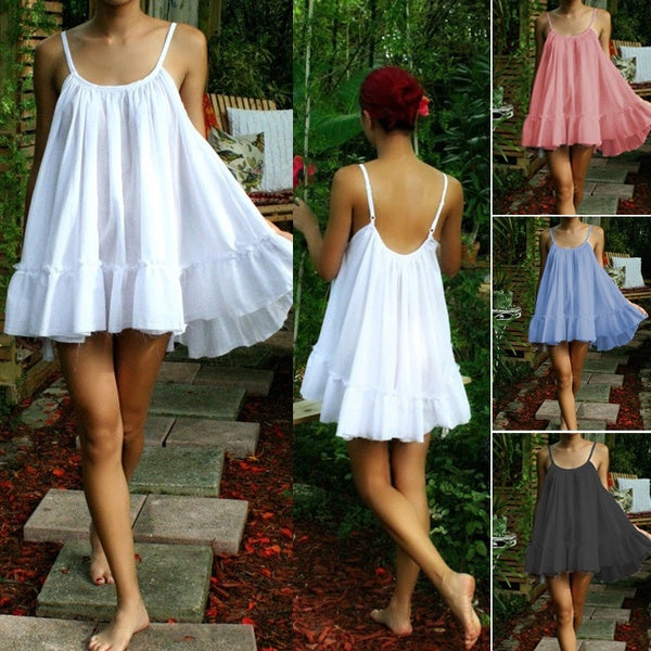 Women Fashion Solid Color Cotton Nightgown Ruffle Cotage Chic Comfort Sleepwear Sling Mini Dress Lingerie Honeymoon Homecloth
