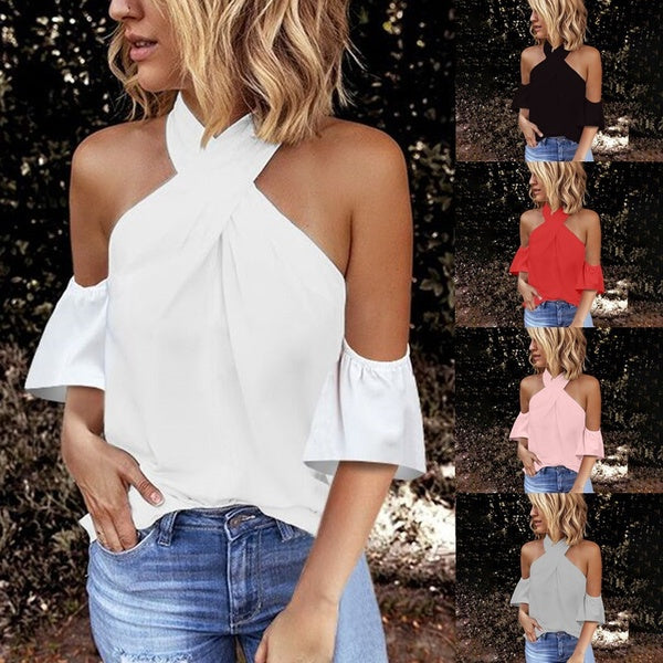 New Women Fashion Summer Halter Neck Casual Solid Color Short Sleeves Chiffon Blouse Shirts Tops