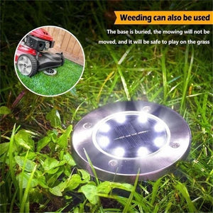 4/8/10/12/16/20 LED Solar Lights Outdoor Pathway Waterproof In-Ground Buried Ground Lights Disk Lights Garden Decking Light