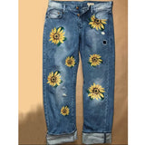 S-3XL Pants Lady Casual Denim Pants Women Sunflower Embroidery Jeans