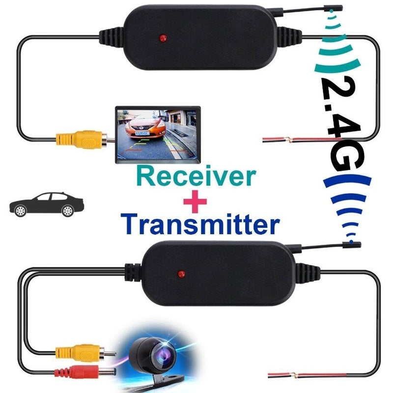 2.4G Wireless Color Video Transmitter Receiver for Car Rear Backup View Camera