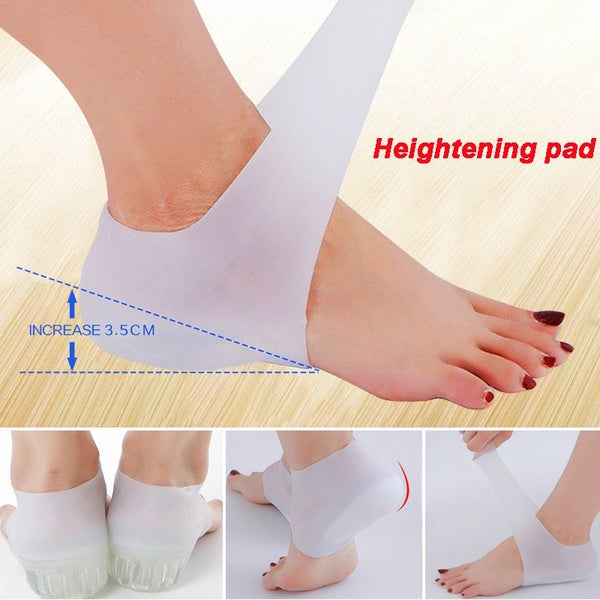 1 Pair Invisible Height Lift Heel Pad Sock Liners Increase Insole Pain Relieve for Women Men Solid Silicone Insoles Anti-Slippery