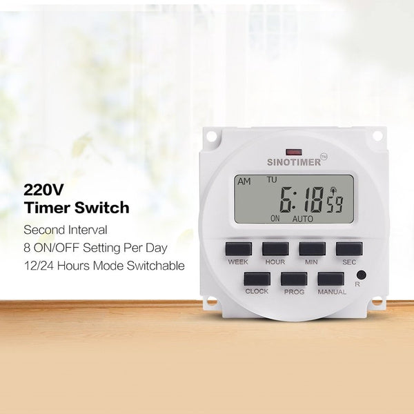 SINOTIMER 12/24/220V Weekly 7 Days Digital Programmable Time Switch Relay Timer Control for Electric Appliance 8 ON/OFF Setting Zx