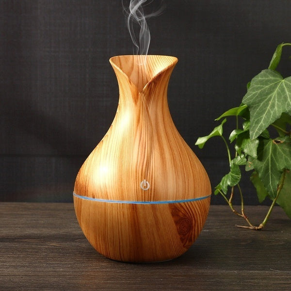 2 Types 7 Colors LED USB Wood Grain Ultrasonic Air Humidifier Aroma Oil Diffuser Aroma Essential Humidifier