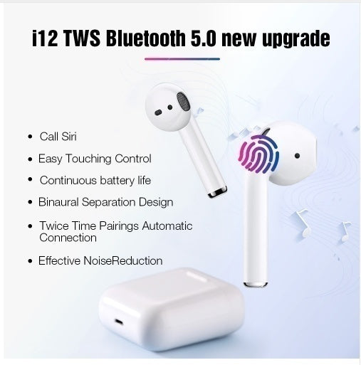 i12 TWS Wireless Bluetooth 5.0 Smart Touch Earbuds Super Bass Stereo Sports Headphone Headset With Charging Box HIFI Sound Quality Built-in Mic