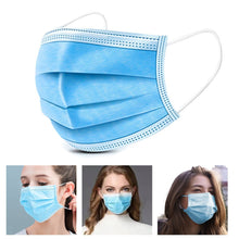 Load image into Gallery viewer, 500PCS Disposable Mouth Mask Antibacterial 3 Layers Non-woven Dust Filter Mouth Cover Ear Loop