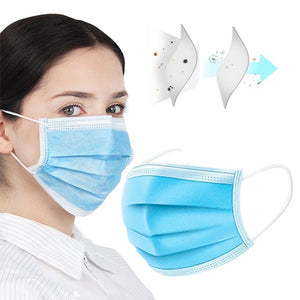 500PCS Disposable Mouth Mask Antibacterial 3 Layers Non-woven Dust Filter Mouth Cover Ear Loop