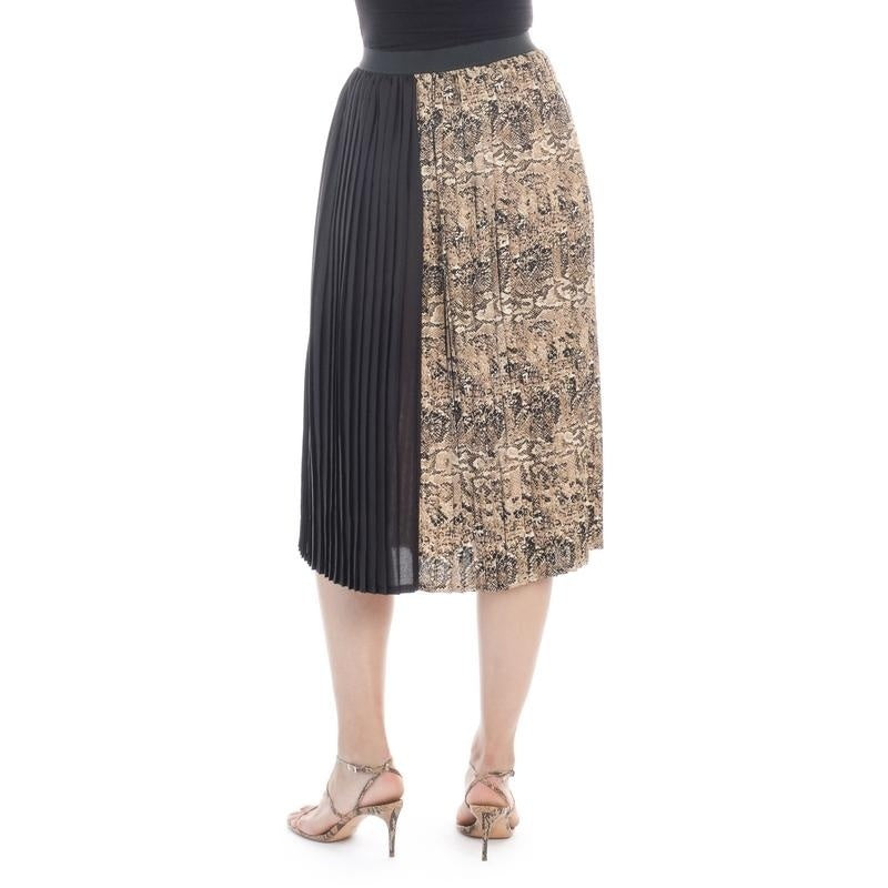 Bob Mackie Women's Pleated crepe skirt color block