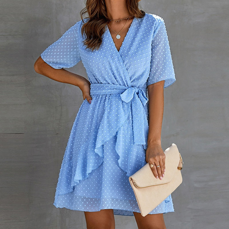 New Women's Fashion Summer V Neck Chiffon Loose Casual Ruffle Polka Dot Party Short Dresses
