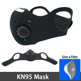 PM2.5 Dust Mask Activated Carbon Black kn95 Breathable Foldable Resizable Filter Outdoor Cycling Running Protection Face Mask