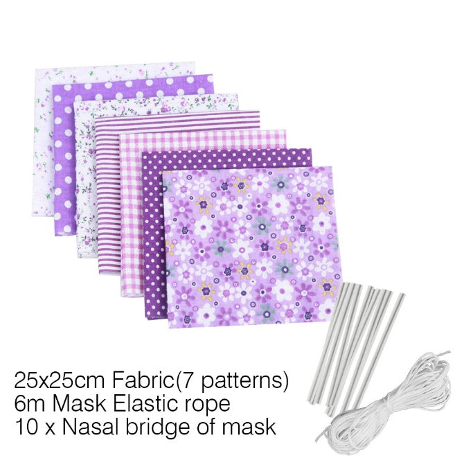 7pcs Diy Sewing & Knitting Supplies Cotton Fabric Bundle Patchwork Floral Fabric 25*25cm Quilting Sewing Crafts Cloth for Small Bag/Mouth Mask Making