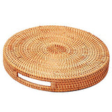 Rattan Handwoven Round High Wall Severing Tray Food Storage Platters Plate over Handles for Breakfast,Drinks,Snack for Coffee Table(Set Of 2:S+L)