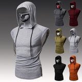 Men Fashion Elastic Fitness T-shirt Casual Slim Tee Shirts Hooded Sleeveless T Shirts Punk Style Tops