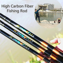 Load image into Gallery viewer, NEW Fishing Rod Carbon Fiber Portable Telescopic Fishing Pole with Fishing Float and Hook for Travel Stream River Fiberglass Fishing Rod