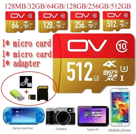 64GB-512GB High Speed Blue Wave MicroSD SD/TF Card Class10 Flash Memory + SD Card Reader + Adapter Reader