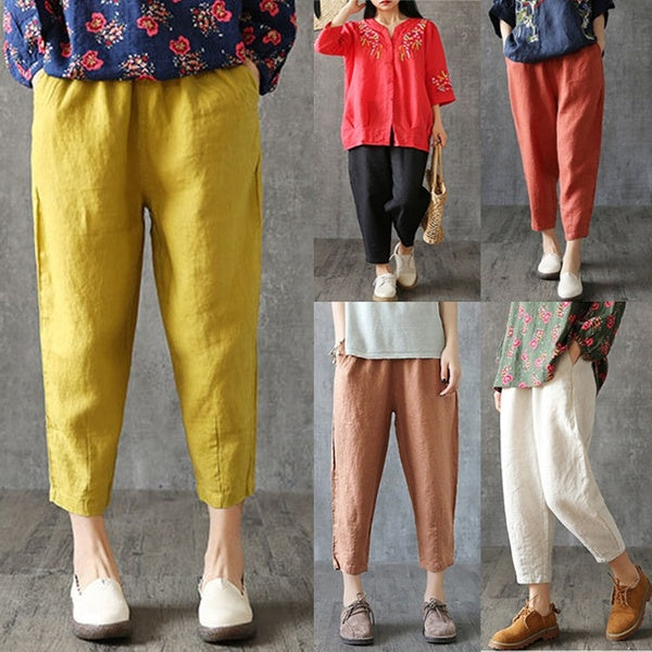 Women's Fashion Loose Cotton Linen Casual Pants Large Size Trousers Plus Size Pants XXS-XXL