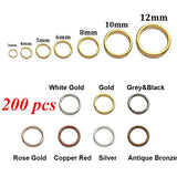 200pcs/lot 3 4 5 6 8 10 mm Metal Open Jump Rings Gold Silver Bronze Color Split Rings Connectors for Jewelry Making