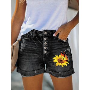 4 COLORS Summer Women Hot Shorts Sunflower Butterfly Print Denim Shorts Skinny Jeans Shorts