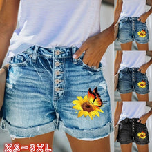 Load image into Gallery viewer, 4 COLORS Summer Women Hot Shorts Sunflower Butterfly Print Denim Shorts Skinny Jeans Shorts
