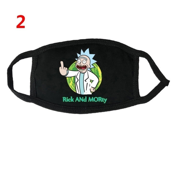 1Pcs Rick and Morty Face Masks Dust Proof Half Face Mouth Muffle for Adults Black Cloth Mask