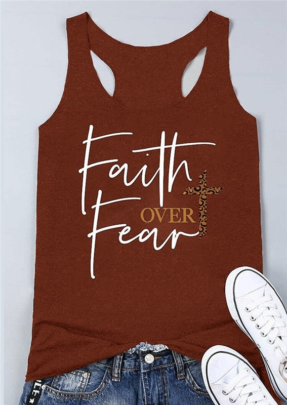 Women's Fashion Summer Sleeveless Letter Print Cross Faith Over Fear Tank Tops Plus Size Shirt