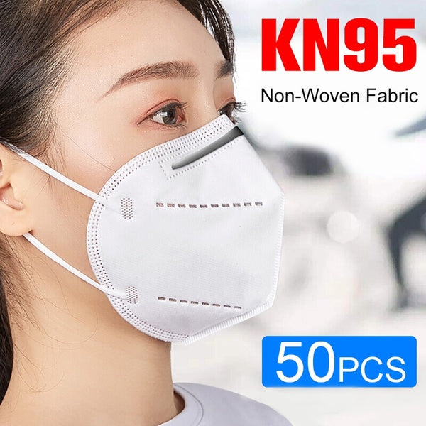 50PCS Anti-dust KN95 Masks Nonwoven Fabric 4 Layers Filtration Disposable Face Masks
