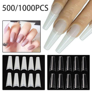 500\/1000 Pcs Stiletto French Coffin False Nail Tips Half Cover Acrylic Gel Tip Nails Manicure Decoration