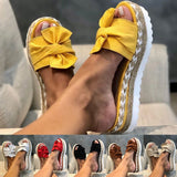Summer Women Casual Slip on Sandals Beach Shoes with Bow Female Open Toe Platform Slippers Daily Comfortable F lip Flops