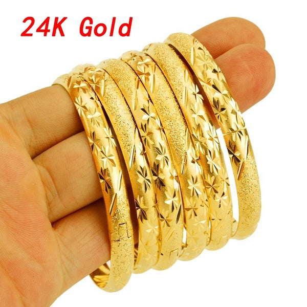 24K Real Gold Bangle Jewelry Dubai Ethiopian Gold Adjustable Bangles Bracelets Wedding Jewelry Gift For Women