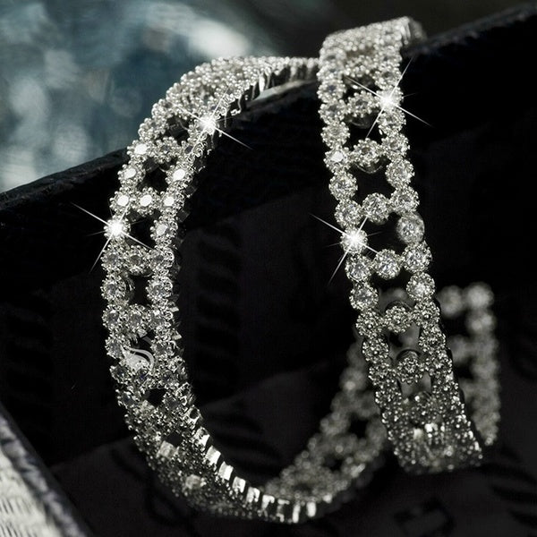 Stunning Fully Lced 925 Silver 24K Gold Round Diamond Hoop Earrings Wedding Engagement Fashion Earings For Women Gift