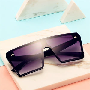 Oversized Square Sunglasses Women 2019 Luxury Fashion Flat Top Red Black Clear Lens One Piece Men Gafas Shade Mirror UV400 Protection Polarized Sunglasses