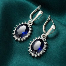 Load image into Gallery viewer, 925 Sterling Silver Natural Gemstone Sapphire  Drop Earrings Wedding Engagement Earrings Jewelry Gift for Women10120Earring-TY