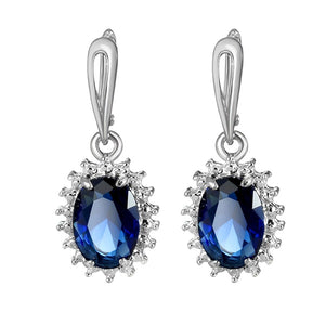 925 Sterling Silver Natural Gemstone Sapphire  Drop Earrings Wedding Engagement Earrings Jewelry Gift for Women10120Earring-TY