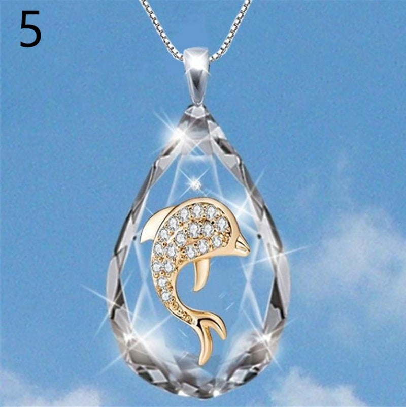 New fashion crystal cross ladder Pendant Crystal Dolphin European and American fashion life tree Necklace religious Necklace Unisex Necklace Jewelry Gift