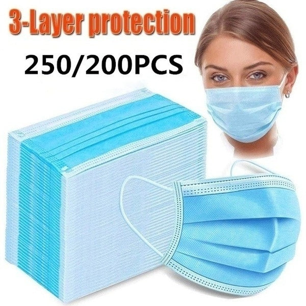 250/200PCS Disposable Face Mask 3Ply Medical Hygiene Masks with Elastic Ear Loops