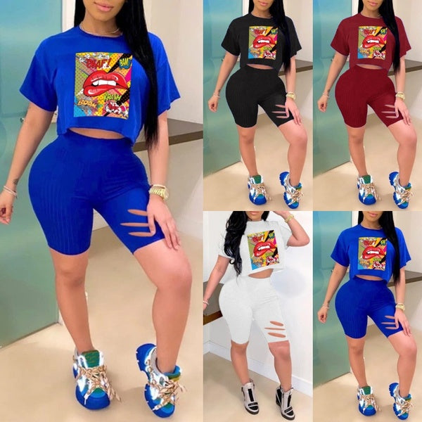 S-5XL Women Fashion Lip Printed Short Sleeve T-shirts & Skinny Shorts Sets Two Pieces Outfits Crop Top and Short Pants Sets