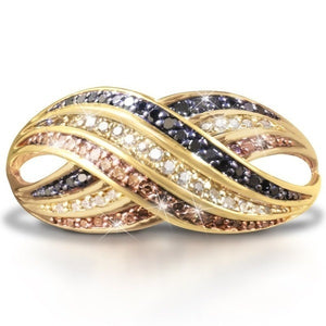 Today,Tomorrow and Always' Sparkling 18k Yellow Gold Natural Gemstone Sapphire Ring Women Wedding Engagement Fine Jewelry