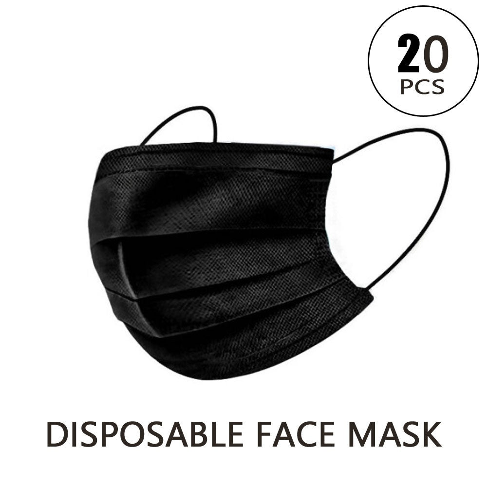 10/20/50PCS Disposable Black Mouth Mask 3 Layers Durable Masks Non Woven Fabric Anti-Dust Anti Pollution Earloops Masks