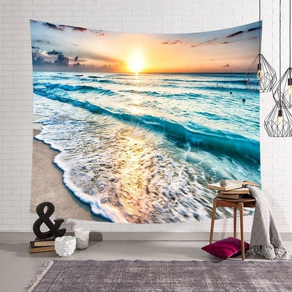 New Landscape Tapestry The Blue Sea Tapestry Wall Hanging Ocean Wave Tapestry For Home Decoration Dorm Decor Wall Art (95X73Cm/150X130Cm/200X150Cm )