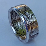 Men Vintage 925 Sterling Silver Handmade US Dollar Coin Rings Morgan Silver Half Dollar 1945 Carved 'the United State of American' Rings Optimal Collecting Jewelry Size 6-13