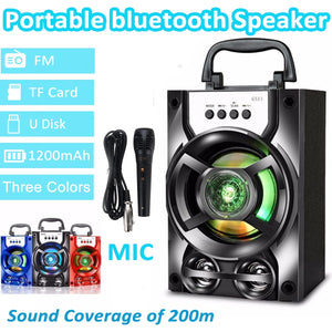 3D Surround Sound Portable bluetooth PA Speaker, LED Light Subwoofer Loudspeaker System, With/Without Wireless Microphones, Support Hands-free/USB/TF Card/AUX/FM