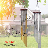 55cm/21inch 16 Tubes Copper Wind Chimes Hanging Bells Soothing Melody Windbells Outdoor Home Garden Decor Birthday Gift Silver/Gold