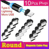 1/5/10Pcs Round Magnetic Cable Plug Type C Micro USB Lightning Magnetic Charging Cable Plug Magnet Charger Cord Plug
