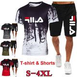 New Fashion Summer Men's Sports & Leisure Set Men's Shorts Sleeve Round Neck T-Shirt