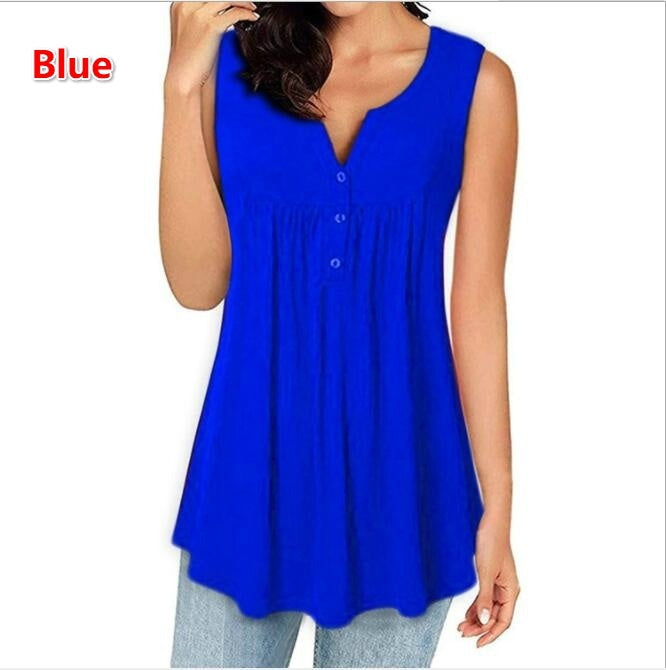 Summer Womens Casual Round Neck Sleeveless Solid Color Patchwork Pleated Tank Tops Button Tops Loose Blouses Shirts Ladies Camisoles Plus Size