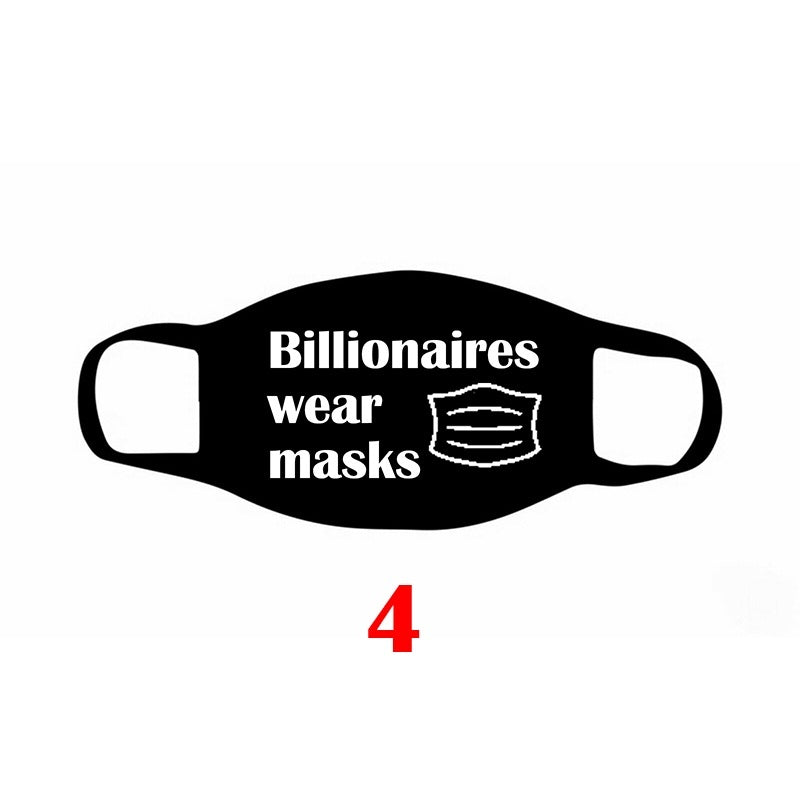 9 Styles 1Pcs Unisex Dust-Proof Cotton Face Masks Windproof Black Mask Letter Printed Half Face Mouth Muffle Mask Funny Mask Face Mask