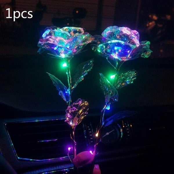 1pcs Simulation Rose Lasts Forever Love Flowers With Light Wedding Decor Creative Gift