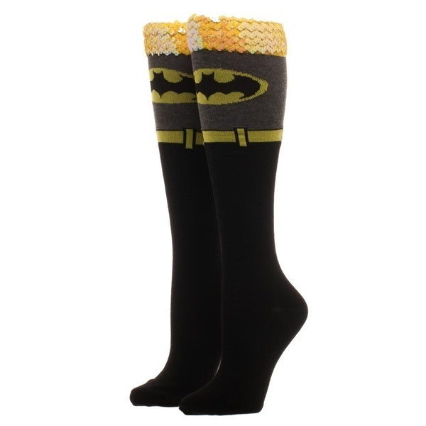 Batman Sequin Cuff Knee High Socks